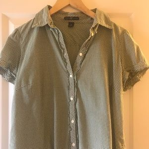 Kelly Green and white gingham button down